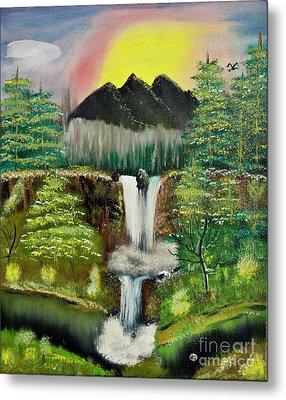 Twin Waterfalls Metal Print
