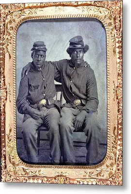 Two African American Soldiers Wearing Metal Print by Everett