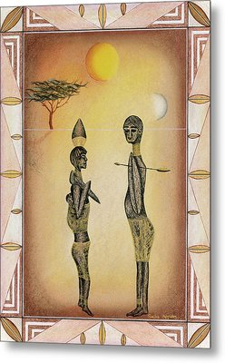 Two African Figures And Tree Metal Print by Sally Appleby