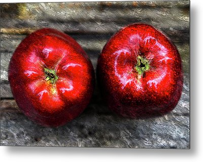 Two Apples On Table Oil Painting Metal Print