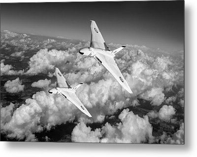 Metal Print featuring the photograph Two Avro Vulcan B1 Nuclear Bombers Bw Version by Gary Eason