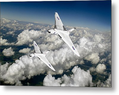 Metal Print featuring the photograph Two Avro Vulcan B1 Nuclear Bombers by Gary Eason