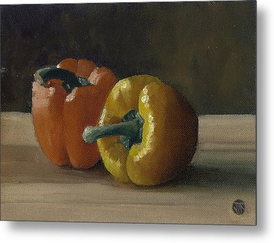 Two Bell Peppers Metal Print by John Reynolds