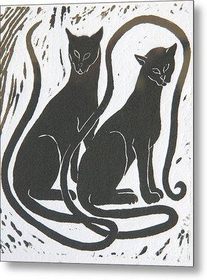 Two Black Felines Metal Print