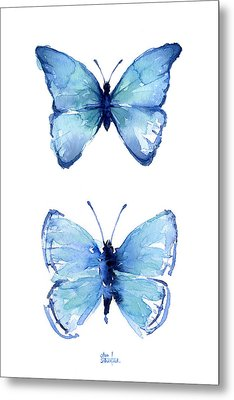 Two Blue Butterflies Watercolor Metal Print