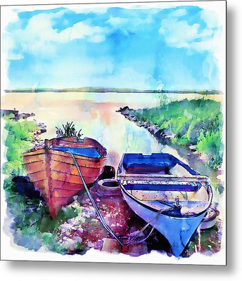 Two Boats On A Shore Metal Print