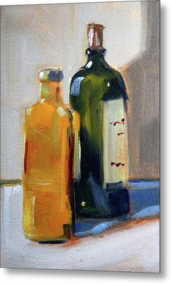 Metal Print featuring the painting Two Bottles by Nancy Merkle