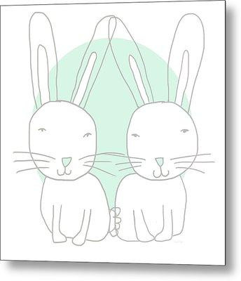 Two Bunnies- Art By Linda Woods Metal Print by Linda Woods
