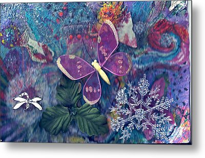 Two Butterflies And A Snow Flake Metal Print by Anne-Elizabeth Whiteway