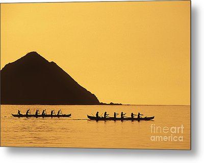 Two Canoes Silhouetted Metal Print by Dana Edmunds - Printscapes