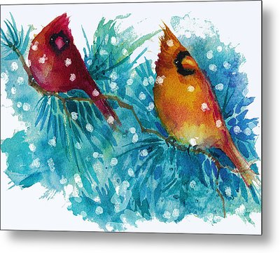 Two Cardinals Metal Print by Peggy Wilson
