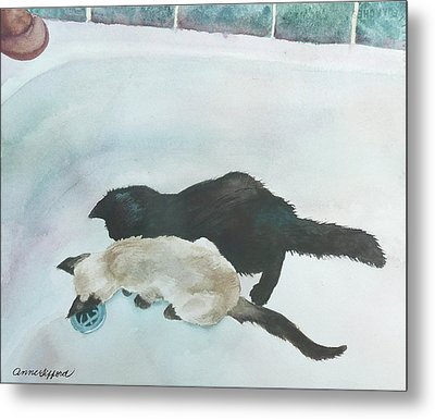 Metal Print featuring the painting Two Cats In A Tub by Anne Gifford