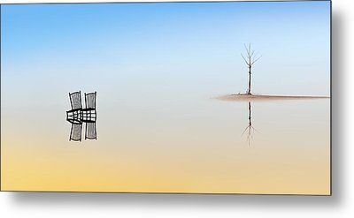 Two Chairs And A Tree Metal Print