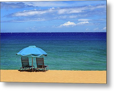 Metal Print featuring the photograph Two Chairs And An Umbrella by James Eddy