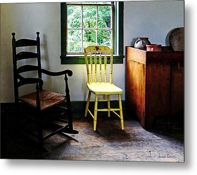 Two Chairs In Kitchen Metal Print by Susan Savad