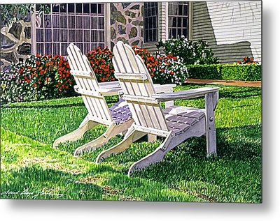 Two Chairs On Carmelina Metal Print by David Lloyd Glover