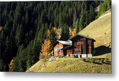 Two Chalets On A Mountainside Metal Print by Ernst Dittmar