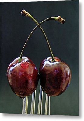 Two Cherries Are Better Than One Metal Print by Maggie Terlecki
