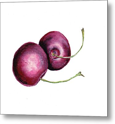 Metal Print featuring the painting Two Cherries by Heidi Kriel