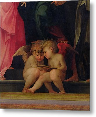 Two Cherubs Reading Detail From Madonna And Child With Saints Metal Print by Giovanni Battist Rosso Fiorentino