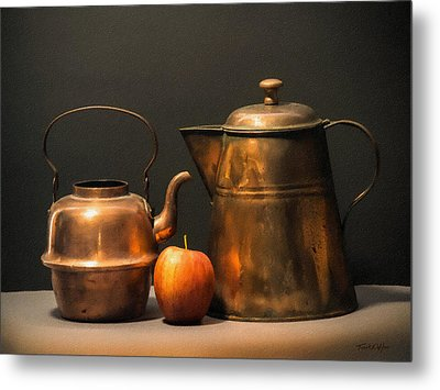 Metal Print featuring the photograph Two Copper Pots And An Apple by Frank Wilson