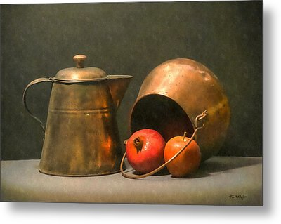 Metal Print featuring the photograph Two Copper Pots Pomegranate And An Apple by Frank Wilson
