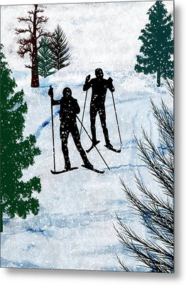 Two Cross Country Skiers In Snow Squall Metal Print by Elaine Plesser