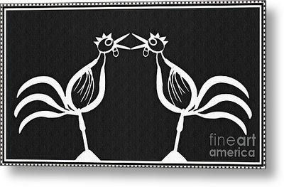 Two Crowing Roosters 2 Metal Print by Sarah Loft