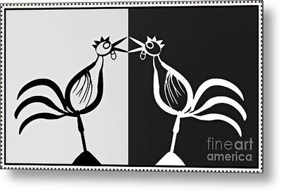 Two Crowing Roosters 3 Metal Print by Sarah Loft