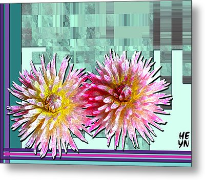 Two Dahlias Metal Print by Shirley Heyn