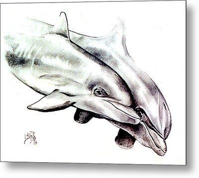 Two Dolphins Metal Print by John Keaton