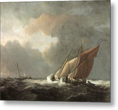 Two Dutch Vessels Close-hauled In A Strong Breeze Metal Print by Willem van de Velde the Younger