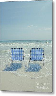 Two Empty Beach Chairs Metal Print by Edward Fielding