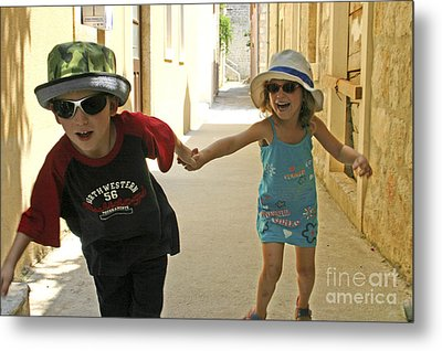 Two Excited Children Metal Print by Danny Yanai