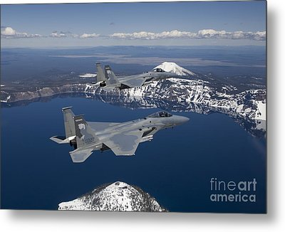 Two F-15 Eagles Fly Over Crater Lake Metal Print by HIGH-G Productions