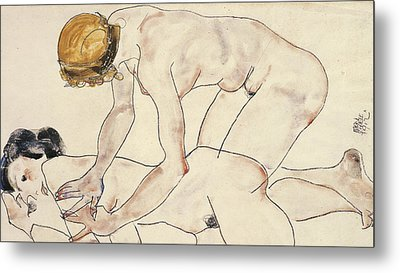 Two Female Nudes Metal Print by Egon Schiele