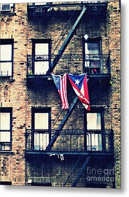 Two Flags In Washington Heights Metal Print by Sarah Loft