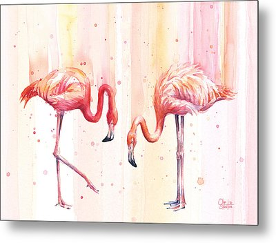 Two Flamingos Watercolor Metal Print by Olga Shvartsur