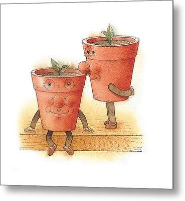 Two Flowerpots02 Metal Print by Kestutis Kasparavicius