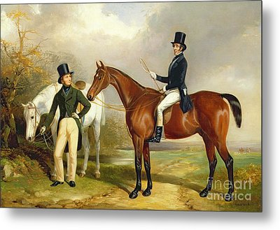 Two Gentlemen Out Hunting  Metal Print by Henry Barraud