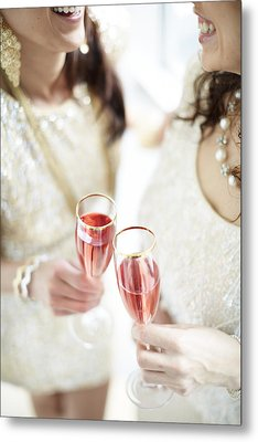 Two Giggling Ladies Toasting Champagne Metal Print by Gillham Studios