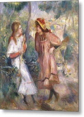Two Girls In The Garden At Montmartre Metal Print by Pierre Auguste Renoir