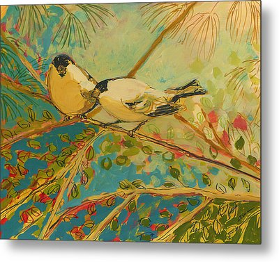 Two Goldfinch Found Metal Print