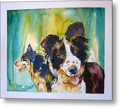 Metal Print featuring the painting Two Good Cowdogs by P Maure Bausch