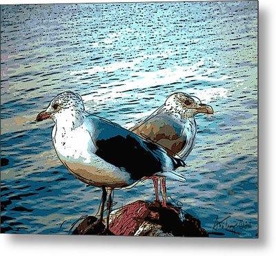 Two Gulls Metal Print by Ann Tracy