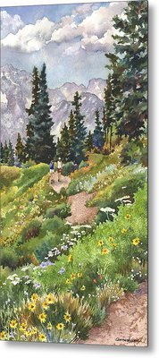 Metal Print featuring the painting Two Hikers by Anne Gifford