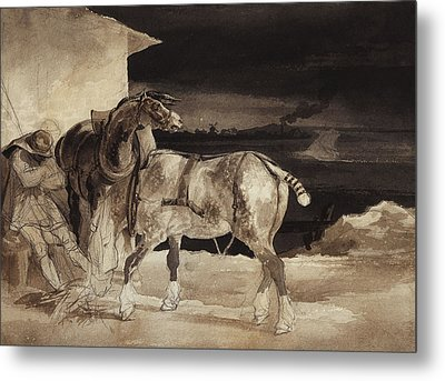 Two Horses And A Sleeping Groom  Metal Print by Theodore Gericault