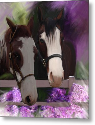 Two Horses And Purple Flowers Metal Print