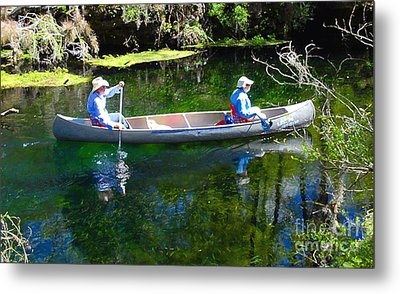 Two In A Canoe Metal Print by David Lee Thompson