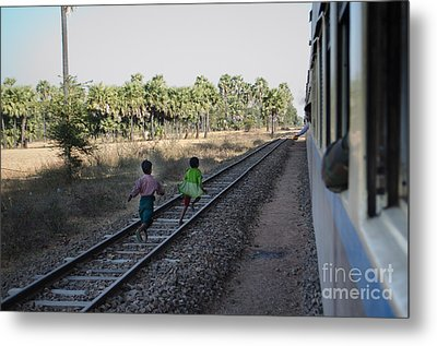Two Kids Run Along And Follow Train In Burma Metal Print